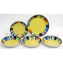 Juego de cenas pintadas a mano de cerámica con diseño cuadrado de rayas amarillas (TM7514)