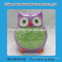 Fabulous design ceramic animal jar with lid in owl shape