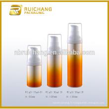 15 ml / 30 ml / 50 ml bouteille plastique sans air, bouteille ronde en plastique sans air, bouteille d'emballage cosmétique