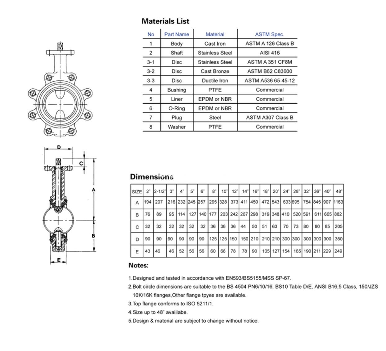 Drawing of lug type butterfly valve