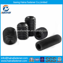 Black plated carbon steel hexagon socket set screw with cup point