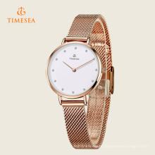 O quartzo de aço inoxidável luxuoso das mulheres do relógio de pulso olha 71129