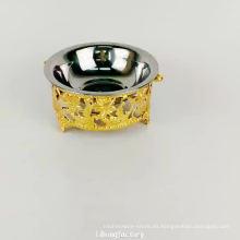 platillo de alimentación de lujo del perrito del agua del perro del acero inoxidable del soporte del oro