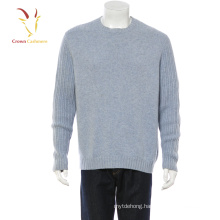 100% cashmere men's pullover chunky knit sweater with rib knit sleeves