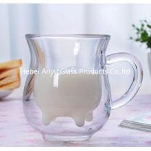 Cow Shape Double Wall Glass Mug 8oz Milk Glass Cup