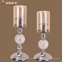 candelabro de mesa decorativo Candelabro de diseño de lujo votivo de cristal de metal
