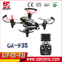 Cheerson CX-93S Drone con cámara 2MP HD 5.8GHz FPV Transmisión en tiempo real RC Helicóptero 2.4G 4CH 6-Axis RTF Quadcopters de alta velocidad