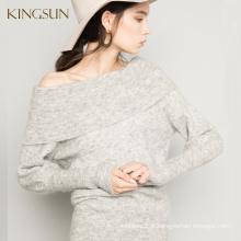 Camisola de manga longa com batata, Mohair com molho de pescoço, Camisola de moda para camisola de malha para mulheres