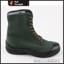 PU Injection Safety Shoe with Green Color Fabric (SN5313)