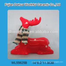 2016 nueva estatuilla de cerámica de la Navidad, estatua hecha a mano de los ciervos de la Navidad