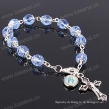 8mm blaue Winkel Kristall Perlen Silber religiösen Armband