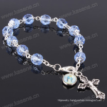 8mm Blue Angle Crystal Beads Silver Religious Bracelet