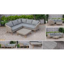 COLLECTION CANARIENNE - Ensemble de canapé en polyéthylène Poly Design 2017 avec jambes en bois d'acacia / teck pour meubles de jardin extérieur