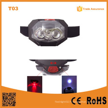 T03 1D LED + 2 feux en plastique LED Traillight Camping Light Head Torch 3 * AAA Battery Support Light