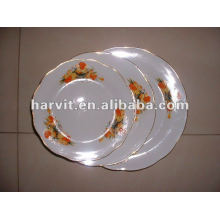 Platos de sopa de porcelana de borde de corte