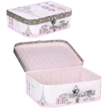 Caja de almacenamiento de la maleta de papel impreso portátil con mango y cerradura