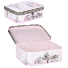 Caixa de armazenamento de mala de papel portátil com alça e trava