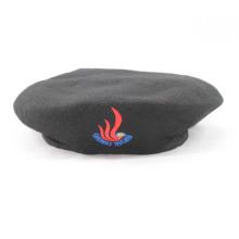 100% Black Wool Military Beret (GK25-001)