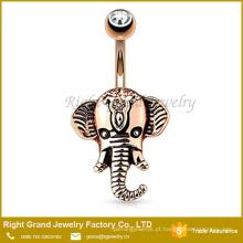 Aço cirúrgico Rose Gold Plated Crystal Jeweled Cabeça de Elefante Umbigo Anel da Barriga