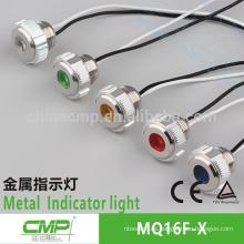 Lámpara de señalización de equipo CMP. Luz indicadora de metal 16mm con cable.