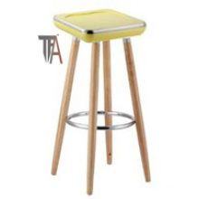 ABS Seat and Beech Wood Legs Yellow Color Bar Chair