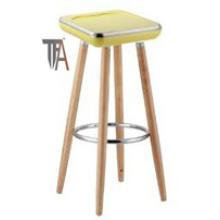 Assento ABS e Pernas de madeira de faia Cadeira de bar de cor amarela