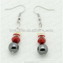 Boucles d'oreilles magnétiques en perles de verre en hématite