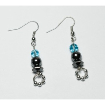 Hematite Sword Earring with silver colour finding