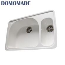 Doppelschüssel des kundenspezifischen Entwurfs mit hoher Härte mit Abflussbrett lavabo Küchengranitschüssellaborwanne