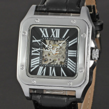 winner alloy square watch with leather band watch for man