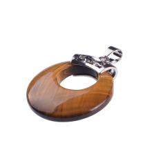 Stylish Natural Tiger Eye Round Big Size Pendant Necklace
