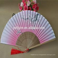 Ventilador de mão de bambu de tecido de seda de alta qualidade