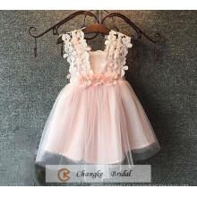 Cheap Peach Flower Girl Dress Pearl Wedding Party Gown 2016