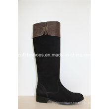 16fw Ladies Fashion Flat Leather Boots with Simple Designs