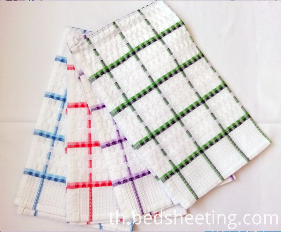 Colorful Cotton Waffle Check Dish Towels