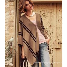 Lady Fashion Acrylic Knitted Stripe Shawl (YKY4151)