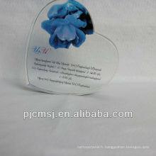 Impression en cristal promotionnelle, impression de coeur pour la pièce maîtresse de mariage