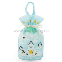 Polar Bear Penguin Christmas Handle Drawstring Gift Bags