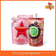 Stand up plastic biodegradable bag for liquid with nozzle spout