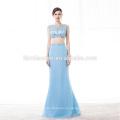 Alibaba venta al por mayor dos piezas de longitud del piso azul claro vestido de fiesta barato 2017