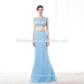 Alibaba wholesale Two Pieces Light Blue floor length cheap prom dress 2017