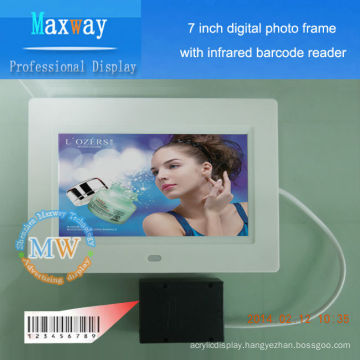 nice 7 inch digital frame slim with infrared barcode reader