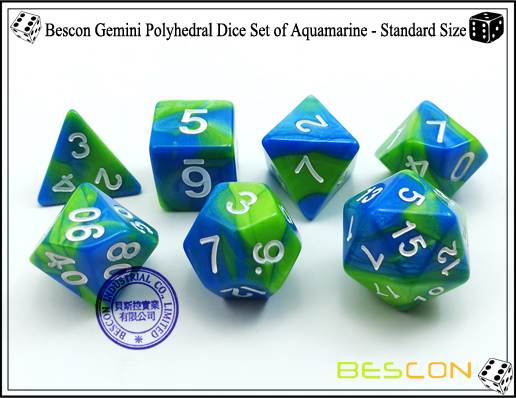 Bescon Gemini Dice Set of Aquamarine-4