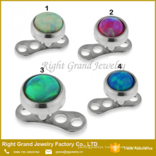 316L Surgical Steel Synthetic Fire Opal Top Dermal Anchor Body Piercing Jewelry