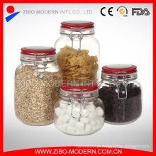 Set 4 vidro transparente Canning Clip Jars Atacado Canister hermético da tampa