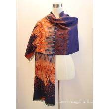 Lady Fashion Viscose Woven Jacquard Fringed Shawl (YKY4414-2)