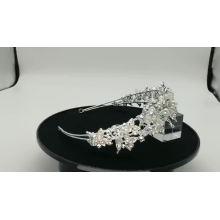 Bandeaux de mariée en cristal argenté fait à la main, bandeau de mariage de fleur de Bling pour le reconstitution historique
