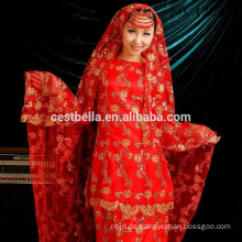 Arabische lange Hülsen Muslimische Brautkleider Bruidsjurken Islamische Brautkleider mit Hijab