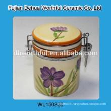 Promotion seal pot with purple flower design