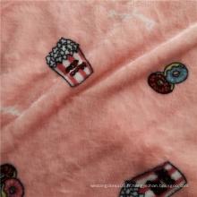 Tissu de pyjama en flanelle douce rose imprimé sur les deux côtés